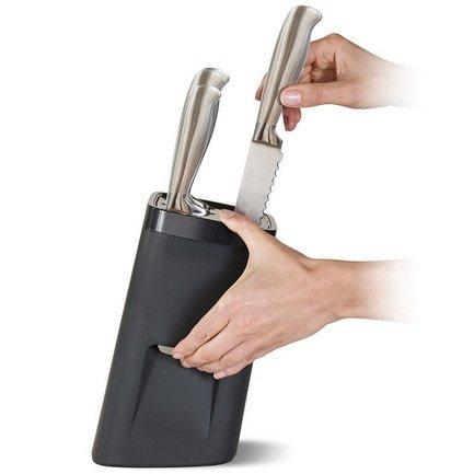 Ультрабезопасная подставка для ножей LockBlock, 14х24х14 см, черная