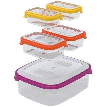 Набор контейнеров для хранения Nest 5, 26х9.5х21 см, 5 шт., разноцветныеКонтейнеры<br><br><br>Серия: Nest<br>Состав: Контейнер для хранения (3.2 л) - 1 шт., Контейнер для хранения (0.54 л) - 2 шт., Контейнер для хранения (0.23 л) - 2 шт.