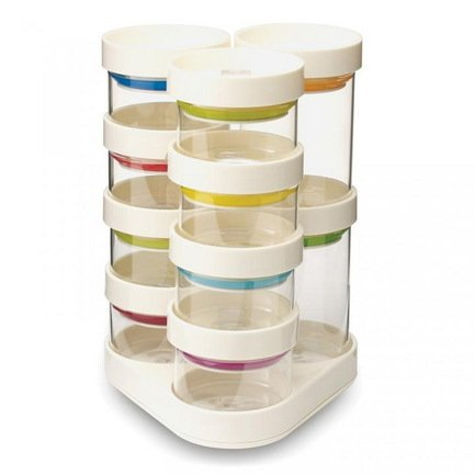 Набор ёмкостей для хранения специй Spice Store Carousel, 15х21х15 см, 11 пр., белый от Superposuda