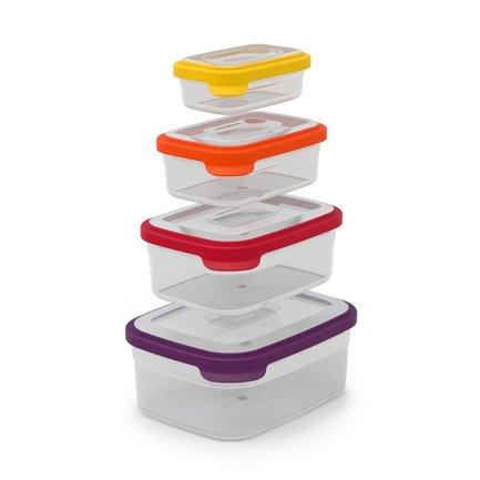 Контейнеры для хранения Nest 4, 21х11х16 см, 4 пр.Контейнеры<br><br><br>Серия: Nest<br>Состав: Контейнер (1.85 л), Контейнер (1.1 л), Контейнер (0.54 л), Контейнер (0.23 л)