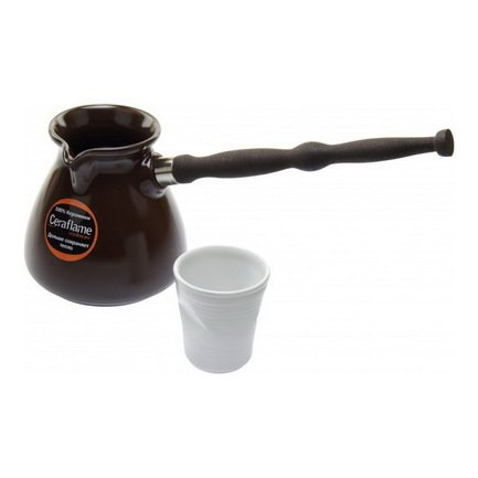 Турка Ibriks New (0.5 л), шоколадКофеварки гейзерные и Турки<br>Турка - классическая посуда для приготовления кофе. В небольшой керамической турке с узким горлышком кофе варится по всем правилам и получается густым, насыщенным и ароматным. Готовый напиток не нужно процеживать, гуща остается в кофе, что сохраняет в нем все вещества кофейных зерен.<br><br>Серия: Ibriks