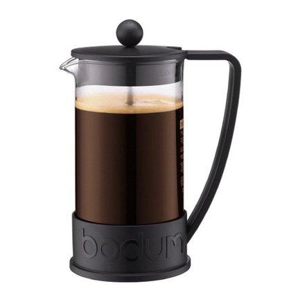 Кофейник с прессом Brazil (1 л), 11.8х15.3х23 см, черный