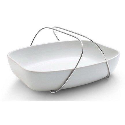 Блюдо керамическое с ручками Eva Solo, большое, белое, 36х28х6.5 см