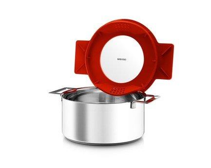 Кастрюля с крышкой-фильтром Eva Solo Gravity, красная, 24 см (6.5 л)