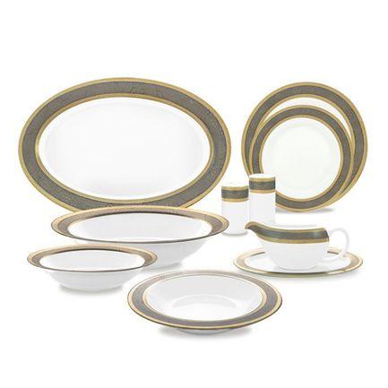 Сервиз обеденный Silver Gold на 12 персон, 55 пр.Столовые сервизы<br>Великолепный столовый сервиз будет достойным украшением вашего обеденного стола. Набор, рассчитанный на двенадцать персон, прекрасно подойдет для торжественной сервировки. На белоснежных фарфоровых предметах изысканный контрастный орнамент выглядит изумительно красиво и празднично. Сервиз составлен таким образом, что для каждого участника обеда предназначены три тарелки: одна глубокая суповая и две мелкие - обеденная и десертная. Также в набор входит очень элегантная и удобная супница с крышкой для торжественной подачи первых блюд. Большие и маленькие овальные блюда и салатники идеально подойдут для общих блюд - нарезок и закусок, которые гости могут сами накладывать себе в тарелку. В набор также входят два соусника. Благодаря удобной форме носика вы не прольете ни капли соуса на скатерть. Две солонки и две перечницы можно расставить по разным концам стола, чтобы всем участникам застолья было легко ими воспользоваться при необходимости. Эти изящные фарфоровые изделия необходимо мыть вручную. Использование посудомоечной машины не допустимо.<br><br>Серия: Silver Gold<br>Состав: Суповая тарелка, 21 см - 12 шт., Тарелка, 26 см - 12 шт., Тарелка, 22 см - 12 шт., Маленькое овальное блюдо - 2 шт., Большое овальное блюдо - 1 шт., Соусник c блюдцем - 2 шт., Большой салатник - 2...