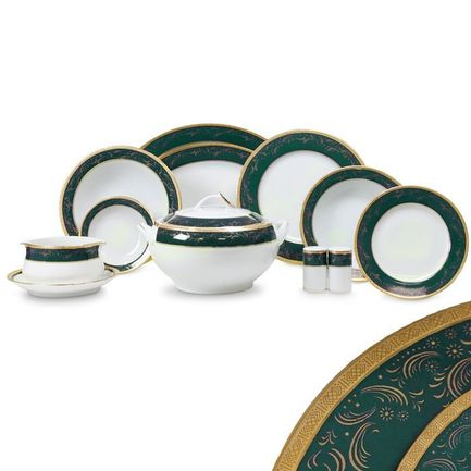 Сервиз обеденный Color Line на 12 персон, 55 пр., зеленый