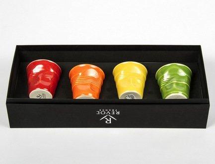 Набор мятых стаканов Фруаз (80 мл) в подарочной упаковке, 4 шт., красный + оранжевый + желтый + зеленый (FR059)