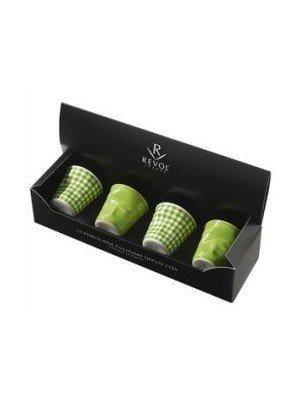 Набор мятых стаканов Фруаз (80 мл) в подарочной упаковке, 4 шт., 2 зеленых + 2 зеленая клетка (FR077)