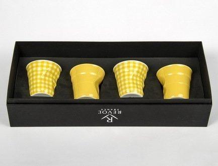 Набор мятых стаканов Фруаз (80 мл) в подарочной упаковке, 4 шт., 2 желтых + 2 желтая клетка (FR078)