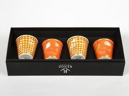 Набор мятых стаканов Фруаз (80 мл) в подарочной упаковке, 4 шт., 2 желтых + 2 желтая клетка (FR079)