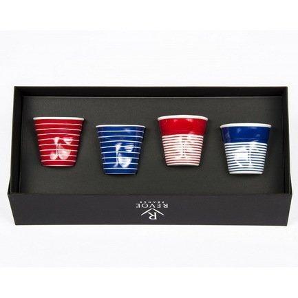 Набор мятых стаканов Фруаз (80 мл) в подарочной упаковке, 4 шт., красные и синие (FR215)