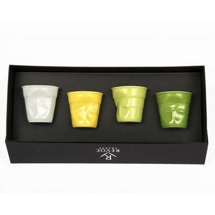 Набор мятых стаканов Фруаз (80 мл) в подарочной упаковке, 4 шт., белый+желтый+вербена+лайм (FR229)Стаканы<br>Изготовленные из жаропрочного фарфора стаканы сохраняют оптимальную температуру крепкого эспрессо. Оригинальный дизайн вызывает желание немедленно насладиться вкусом и ароматом этого кофейного напитка.<br><br>Серия: Froisses