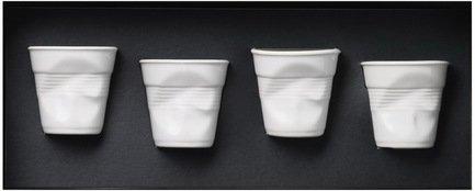 Набор мятых стаканов Фруаз (80 мл) в подарочной упаковке, 4 шт., белые (FR060)