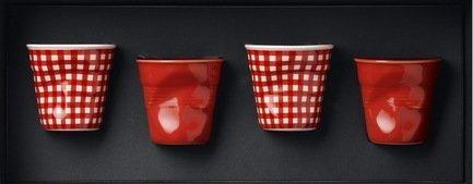 Набор мятых стаканов Фруаз (80 мл) в подарочной упаковке, 4 шт., 2 красных+2 красных клетчатых (FR080)