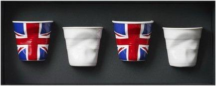 Набор мятых стаканов Фруаз (80 мл) в подарочной упаковке, 4 шт., 2 английских флага + 2 белых (FR122)
