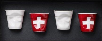 Набор мятых стаканов Фруаз (80 мл) в подарочной упаковке, 4 шт., 2 белых + 2 флага Швейцарии (FR165)