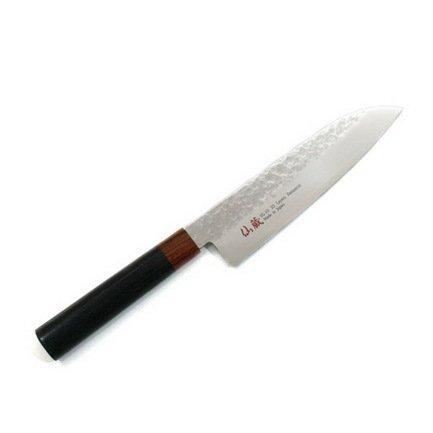 Нож сантоку Senzo, 18 см, сталь VG10, дамаскНожи Сантоку<br>Представляя собой азиатский тип ножа, для которого характерно широкое лезвие и исключительно острая режущая кромка, сантоку – оптимальный вариант для поваров, предпочитающих рубящую технику нарезки. Наличие балансировки, смещённой к кончику ножа, способствует снижению нагрузки при обработке продуктов. Универсален, применим для нарезания овощей, мяса или рыбы.<br><br>Серия: Senzo
