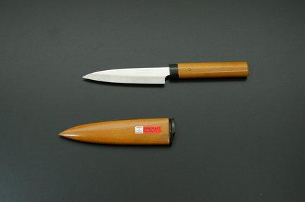 Нож для овощей (деревянная рукоятка и ножны), коричневый, 8 см