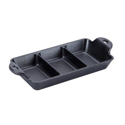 Блюдо прямоугольное 3-х секционное, черное, 24х9х3.8 см