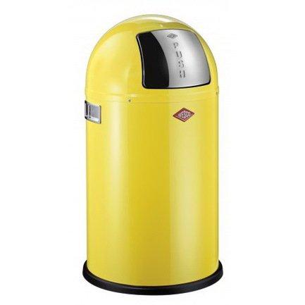 Ведро для мусора с заслонкой (22 л), 35х63 см, желтое (117565)Мусорные ведра<br>Этот вместительный, стильный контейнер идеально подойдет для кухни, ванной, загородного дома, балкона, террасы, а также бара или ресторана. Оптимальный выбор для большой семьи. Корпус контейнера выполнен из высококачественной нержавеющей стали, покрытой стойкой краской. Внутреннее мусорное ведро изготовлено из гальванизированной огнестойкой стали и снабжено плотным резиновым кольцом для надежной фиксации мусорных мешков. На корпусе есть большая и удобная кнопка, при нажатии на которую легко открывается крышка контейнера.<br><br>Серия: Kickboy