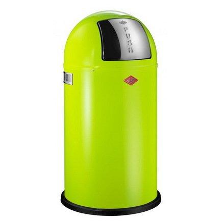 Ведро для мусора с заслонкой (50 л), 40х75.5 см, зеленый лайм (117575)Мусорные ведра<br>Этот вместительный, стильный контейнер идеально подойдет для кухни, ванной, загородного дома, балкона, террасы, а также бара или ресторана. Оптимальный выбор для большой семьи. Корпус контейнера выполнен из высококачественной нержавеющей стали, покрытой стойкой краской. Внутреннее мусорное ведро изготовлено из гальванизированной огнестойкой стали и снабжено плотным резиновым кольцом для надежной фиксации мусорных мешков. На корпусе есть большая и удобная кнопка, при нажатии на которую легко открывается крышка контейнера.<br><br>Серия: Kickboy