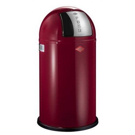 Ведро для мусора с заслонкой (50 л), 40х75.5 см, рубиново-красное (117579)Мусорные ведра<br>Этот вместительный, стильный контейнер идеально подойдет для кухни, ванной, загородного дома, балкона, террасы, а также бара или ресторана. Оптимальный выбор для большой семьи. Корпус контейнера выполнен из высококачественной нержавеющей стали, покрытой стойкой краской. Внутреннее мусорное ведро изготовлено из гальванизированной огнестойкой стали и снабжено плотным резиновым кольцом для надежной фиксации мусорных мешков. На корпусе есть большая и удобная кнопка, при нажатии на которую легко открывается крышка контейнера.<br><br>Серия: Pushboy