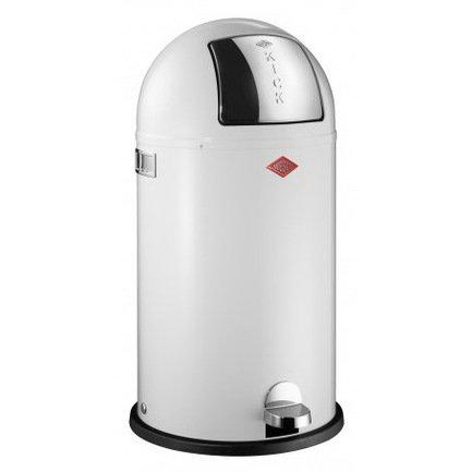 Ведро для мусора с заслонкой и педалью Kickboy (40 л), 40х75.5 см, белое (117581)Мусорные ведра<br>Этот вместительный, стильный контейнер идеально подойдет для кухни, ванной, загородного дома, балкона, террасы, а также бара или ресторана. Оптимальный выбор для большой семьи. Корпус контейнера выполнен из высококачественной нержавеющей стали, покрытой стойкой краской. Внутреннее мусорное ведро изготовлено из гальванизированной огнестойкой стали и снабжено плотным резиновым кольцом для надежной фиксации мусорных мешков. На корпусе есть большая и удобная кнопка, при нажатии на которую легко открывается крышка контейнера.<br><br>Серия: Kickboy