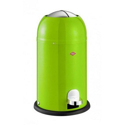 Ведро для мусора с заслонкой и педалью Kickmaster Junior (12 л), 30х51 см, зеленый лайм (117593)Мусорные ведра<br>Корпус контейнера выполнен из высококачественной нержавеющей стали, покрытой стойкой краской. Внутреннее мусорное ведро изготовлено из гальванизированной огнестойкой стали и снабжено плотным резиновым кольцом для надежной фиксации мусорных пакетов. На корпусе контейнера есть большая хромированная педаль, при нажатии на которую легко открываются и опускаются вниз створки крышки. Таким образом открыть этот контейнер можно даже без помощи рук.<br><br>Серия: Kickmaster Junior