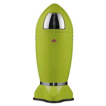 Ведро для мусора с заслонкой Spaceboy (35 л), 41.5х97 см, зеленый лайм (117608)Мусорные баки<br>Этот оригинальный мусорный контейнер необычного дизайна и эффектной расцветки прекрасно подходит для современного интерьера. Корпус контейнера выполнен из высококачественной нержавеющей стали, покрытой стойкой краской. Внутреннее конусообразное ведро изготовлено из гальванизированной огнестойкой стали и снабжено плотным резиновым кольцом для надежной фиксации мусорных мешков.<br><br>Серия: Spaceboys XL