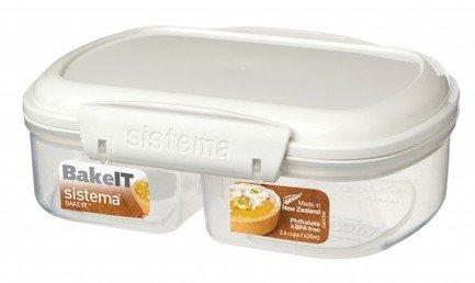 Контейнер двойной Bake IT (630 мл), 17.6х13.2х6 см, белыйЛанч-боксы<br>Пластиковый контейнер от Sistema - незаменимый предмет для хранения разнообразных продуктов, полуфабрикатов и готовых блюд на кухне, на работе, в дороге и на отдыхе. Пластиковый контейнер с крышкой - удобная «консервная банка», в которой продукты не теряют своих свойств и надежно защищены от воздействия внешней среды.<br><br>Серия: Bake-it