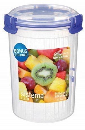 Контейнер круглый Klip IT Round (1 л), 11.5х16 см, синийКонтейнеры<br>Пластиковый контейнер от Sistema - незаменимый предмет для хранения разнообразных продуктов, полуфабрикатов и готовых блюд на кухне, на работе, в дороге и на отдыхе. Пластиковый контейнер с крышкой - удобная «консервная банка», в которой продукты не теряют своих свойств и надежно защищены от воздействия внешней среды.<br><br>Серия: Klip-it