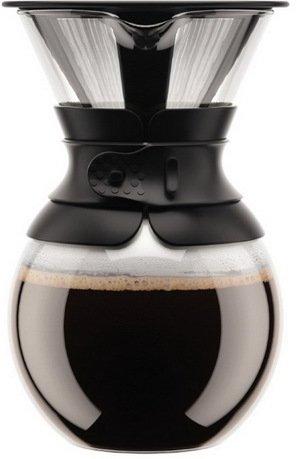 Кофейник с фильтром Pour Over (1 л), 13.8x13.8x22 см, черный