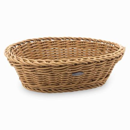 Корзина овальная, 25х19х6 см, светло-бежеваяХлебные корзины<br>Стильная корзина для хлеба станет отличным завершением сервировки любого стола. Вы оцените практичность пластиковой корзинки, стилизованной под плетенную из лозы. В ней очень удобно не только подавать хлеб к столу, но и хранить его.<br><br>Серия: Saleen