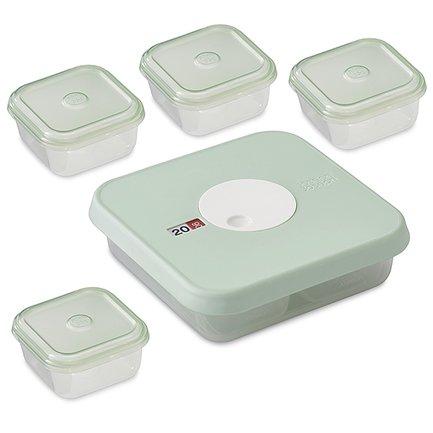 Набор из 5 контейнеров для детского питания с датируемой крышкой Dial Baby (Ступень 2)Контейнеры<br><br><br>Серия: Dial<br>Состав: Большой контейнер (0.9 л) - 1 шт., Маленький контейнер (0.09 л) - 4 шт.