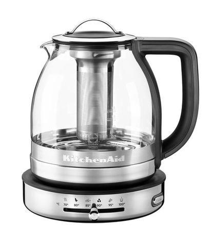 Стеклянный электрочайник Artisan (1.5 л)Чайники электрические<br>Красивый электронный чайник быстро и легко приготовит любой чай без потери его вкусовых и ароматических качеств. Благодаря съемному заварочному стакану, чайник можно использовать как для непосредственного заваривания чая, так и простого кипячения воды. Ценителей чая особенно порадует возможность установки температуры для различных видов этого напитка, а также поддержания его теплым в течение получаса. Чайник выполнен в очень стильном дизайне: литая конструкция из стекла и стали, плавные формы и эффектные детали. Характеристики:   Мощность: 2000 Вт  Емкость колбы: 1.5 л  Материал колбы: Боросиликатное стекло Schott DURAN с удобными отметками уровня воды  Отсек для намотки шнура (на дне подставки) Да  Цвет светового индикатора вкл/выкл питания белый  Длина кабеля питания 91,4 см  Звуковой сигнал  Размеры: 26.9 21.1 23.9 см  Габариты упаковки: 25.9 30.7 32.8 см  Вес нетто: 1.9 кг<br><br>Состав: Съемная крышка с ручкой, Съемный заварочный стакан из нержавеющей стали, Фильтр накипи из нержавеющей стали, Держатель заварочного стакана