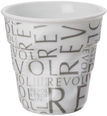 Мятый стакан для эспрессо (80 мл), белый с надписями Revol (RGO0108-1-2125)