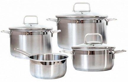 Набор посуды Premium Steel SD SETL4, 4 пр.Наборы кастрюль<br>Хорошо укомплектованные набор посуды из нержавеющей стали - мечта каждой хозяйки. Здесь есть все, что нужно для приготовления любых блюд в подходящем объеме. Вы всегда сможете подобрать кастрюлю нужного диаметра и объема для приготовления первого блюда, компота или гарнира.<br><br>Серия: Premium Steel<br>Состав: Кастрюля с крышкой (6.1 л), 24 см, Кастрюля (3 л), 20 см, Кастрюля (1.5 л), 16 см, Ковш (1.5 л), 16 см