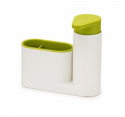 Органайзер для раковины с дозатором для мыла SinkBase, 17.8х16.5х6 см, бело-зеленый