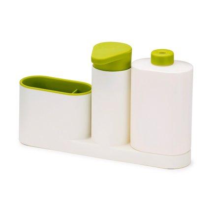 Органайзер для раковины с дозатором для мыла и бутылочкой SinkBase Plus, 27х16.5х6 см, бело-зеленыйКухонные держатели и рейлинги<br><br><br>Серия: SinkBase
