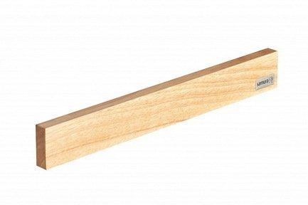 Магнитный держатель Samura, 38.5x4.9x1.8 см, светлое деревоМагнитные держатели, Подставки для ножей<br>Держатель для кухонных ножей Samura - необычный и стильный аксессуар. Он компактен, практичен, удобен и безопасен для хранения ножей из стали. Держатель изготовлен из натуральной древесины - каучукового дерева гевеи, а внутри него находится магнит. Прикрепить держатель вы сможете в любом подходящем для вас месте - на стене или дверце шкафа. Аксессуар держится на клейкой основе, и никаких дополнительных крепежей для него не понадобится.<br>
