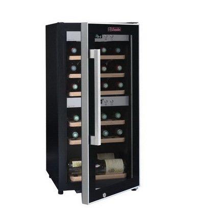 Винный шкаф двухзонный, на 24 бутылки, 6 выдвижных полок из букаВинные шкафы<br>Основные характеристики  Отдельно стоящий  Кол-во температурных зон: двухзонный  Вместимость: 24 бут.   Система охлаждения: компрессорная  Температурный режим: от 3 до 22 °C  Стеклянные двери  Климатический класс ST: +18...38 °С  Ширина: 395 мм  Глубина: 500 мм  Высота: 870 мм  Высота (в упаковке): 925 мм  Вес (без упаковки): 30 кг   Вес (с упаковкой): 32 кг  Цвет: черный   Технические особенности   Охлаждение с принудительной вентиляцией  Электронный термостат  Регулировка влажности  Хладагент: R600a  Цифровой дисплей с отображением температуры  Антивибрационная система  Индикатор включения  LED-подсветка белого цвета  Класс энергопотребления: A  Дверной замок  Энергопотребление: 117 кВт/год<br><br>Серия: La Sommeliere Range