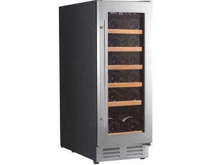 Шкаф для хранения вина на 18 бутылок, встраиваемыйВинные шкафы<br>Основные характеристики  Отдельно стоящий  Встраиваемый  Кол-во температурных зон: монотемпературный   Вместимость: 18 бут.  Система охлаждения: компрессорная  Температурный режим: от 5 до 22°C  Стеклянные двери  Дверной упор: петли справа  Перенавешиваемые двери  Напряжение: 220 В  Климатический класс ST: +18...38 °С  Климатический класс N: +16...32 °С  Ширина: 295 мм  Глубина: 575 мм  Высота: 820 мм  Высота (в упаковке): 865 мм  Вес (без упаковки): 30 кг  Вес (с упаковкой): 32 кг  Цвет: черный  Технические особенности  Антивибрационная система  6 полок из металлопластика с деревянной лицевой панелью  Голубая светодиодная подсветка  Дверная рамка из нержавеющей стали  Дверь с двойным анти-УФ стеклопакетом  2 регулируемые ножки + 2 колёсика  Класс энергоэффективности: А  Уровень шума: 40 дБ  Потребляемая мощность: 0,09 кВт  Потребление электроэнергии: 180 кВт/год  Габариты в упаковке: 355х645х865 мм<br><br>Серия: Climadiff