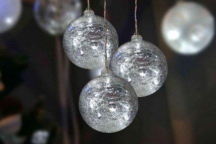 Украшение Glasslight LED, 3 прозрачных стеклянных шара, 10 см, белые, 24 V от Superposuda