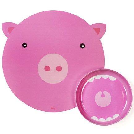 Коврик+миска Hungry pig, 35х3.5х35 смДетские сервизы<br><br>