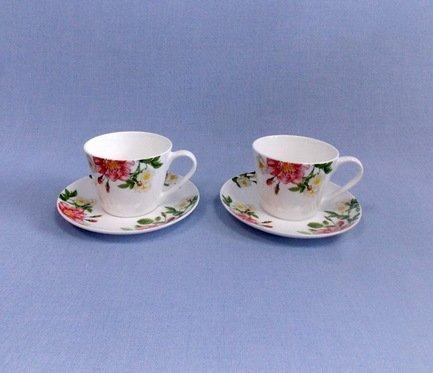Набор чашек Цветущий шиповник на 2 персоны, 4 пр.Чашки и Кружки<br>Две чайные пары в одном наборе – это очень удобно, красиво и практично. С этим набором можно быстро сервировать чаепитие на двоих и выпить чашку горячего чая с лучшим другом. Крепкий ароматный напиток в белоснежной фарфоровой чашке выглядит очень красиво и остается горячим довольно долго. На маленькое блюдце удобно класть чайную ложечку или небольшой десерт к чаю - конфеты или печенье.<br><br>Серия: Цветущий шиповник<br>Состав: Чашка (300 мл) - 2 шт., Блюдце - 2 шт.