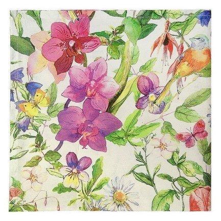 Скатерть с рисунком Колибри, 170х170 см, хлопок, зеленаяСкатерти<br><br><br>Серия: Цветочные мотивы