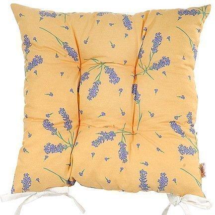 Подушка на стул с рисунком Lavander flowers, 41х41 см, полухлопок, желтаяПодушки на стул<br><br><br>Серия: Кантри