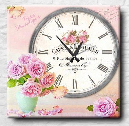 Настенные часы Нежные розы, 40x40 смНастенные часы<br><br><br>Серия: Цветочные мотивы