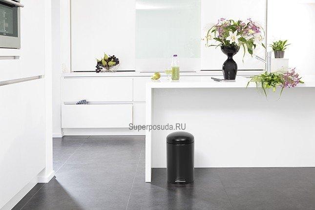 Ведро для мусора Retro с педалью (12 л) MC, 45.4х34.3х25.1 см, черное матовое от Superposuda